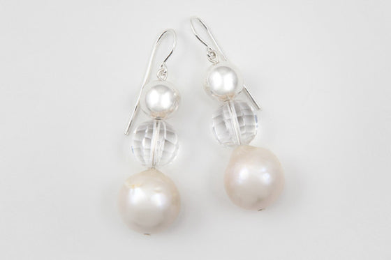 Quartz, freshwater pearl & sterling silver earrings