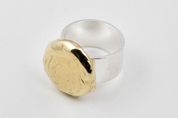 9ct yellow gold & sterling silver ring