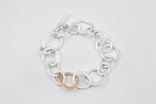 9ct rose gold & sterling silver bracelet