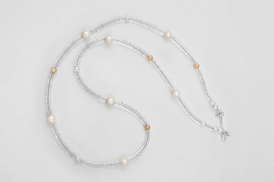 9ct yellow gold, freshwater pearl, quartz & sterling silver necklace