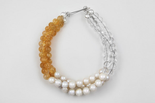 Freshwater pearl, citrine, quartz & sterling silver 3-strand necklace