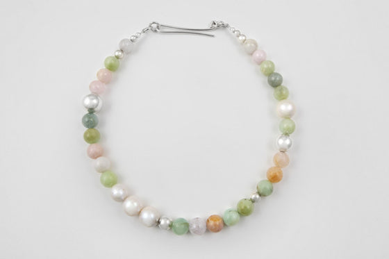 Beryl, freshwater pearl & sterling silver necklace