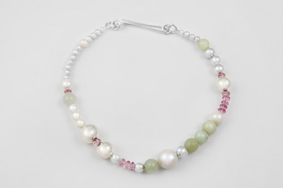 Pink topaz, beryl, freshwater pearl & sterling silver necklace