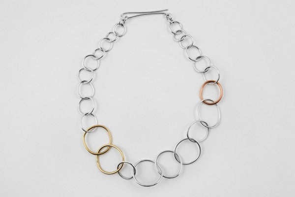 9ct yellow gold, 9ct rose gold & sterling silver necklace
