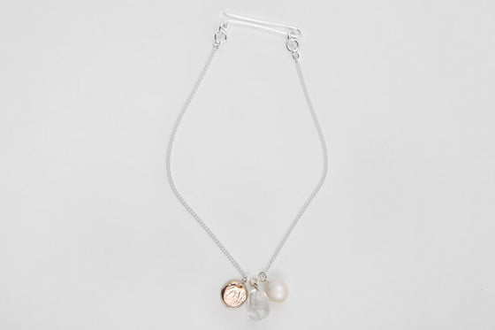 9ct rose gold, freshwater pearl, quartz & sterling silver necklace