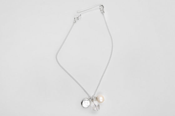 Quartz, freshwater pearl & sterling silver necklace