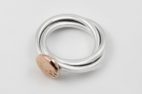 9ct rose gold & sterling silver ring
