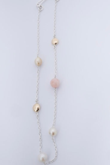 Morganite, gold + pearls