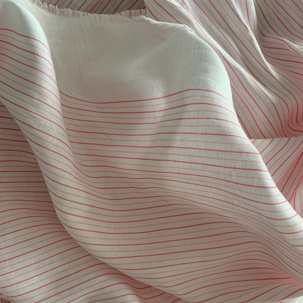 PINK TINY STRIPE FRINGED EDGE LINEN SCARF