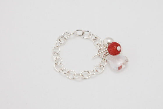 Sterling silver, cherry quartz & clear quartz bracelet
