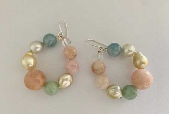 Gem + South Sea pearl hoops