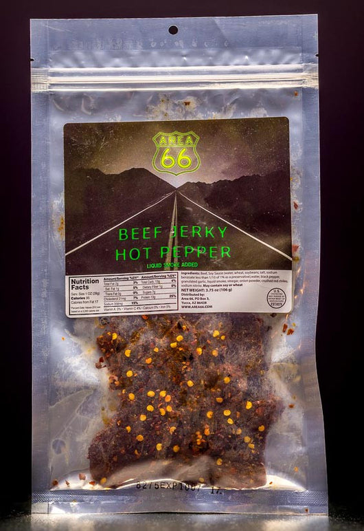 Area 66 brand hot pepper beef jerky