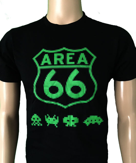 Area 66 pixelated logo in green with green space invader style aliens on black