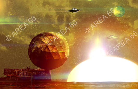 geodesic sphere in futuristic landscape with huge setting sun background and flying saucers in a cloudy sky