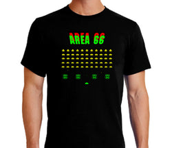 Area 66 space invaders inspired t-shirt in green, red, and yellow on black