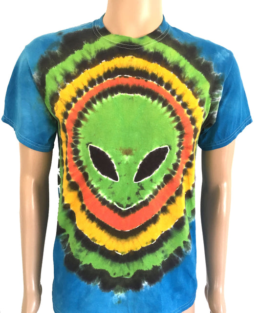 Alien head tie dye on blue