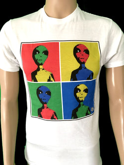 Area 66 andy warhol inspired t-shirt with multi-colored alien heads