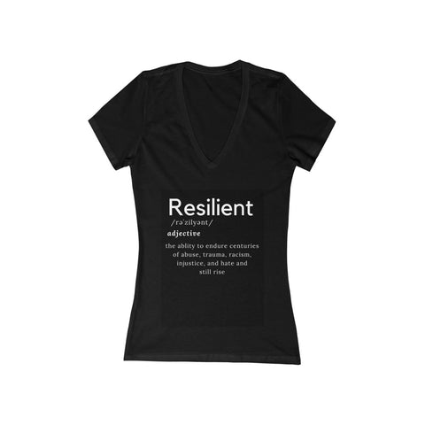 Women's Black Resilient Short Sleeve Deep V-Neck Tee