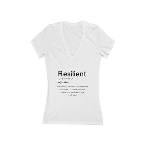 Women's White Resilient Short Sleeve Deep V-Neck Tee