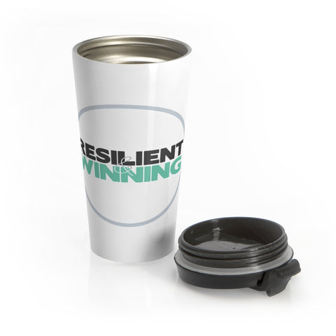 R&W Stainless Steel Travel Mug (Gray Circle Logo)