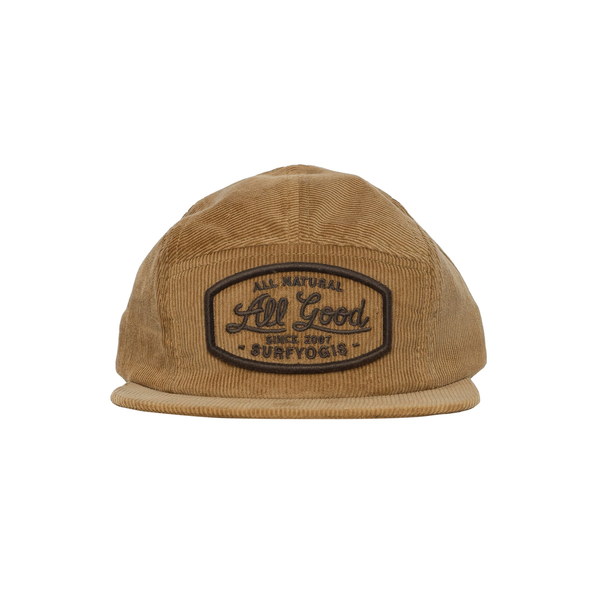 "Brown Corduroy Hat. Brown Embroidered Text. ""All Natural, ALL GOOD, Since 2007, Surfyogis"