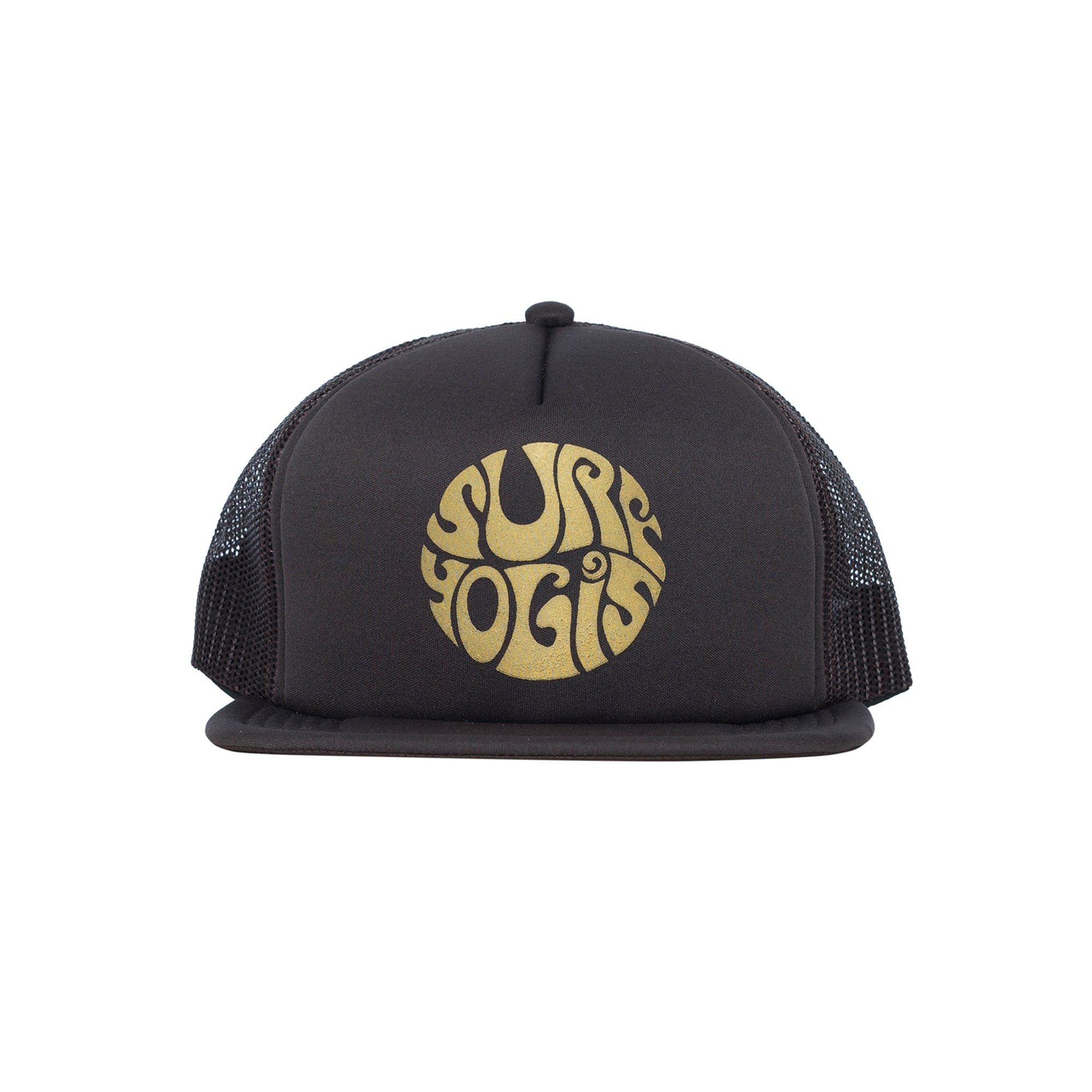 Brown Trucker Hat. Gold Surfyogis logo centre front panel.