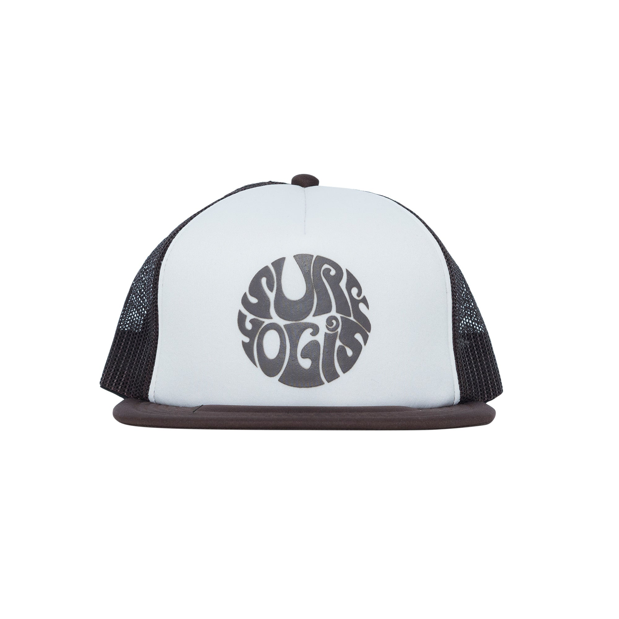 White panel trucker hat. Brown logo on centre front panel. Brown mesh.