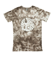 Brow tie dye t-shirt. White logo centre front.