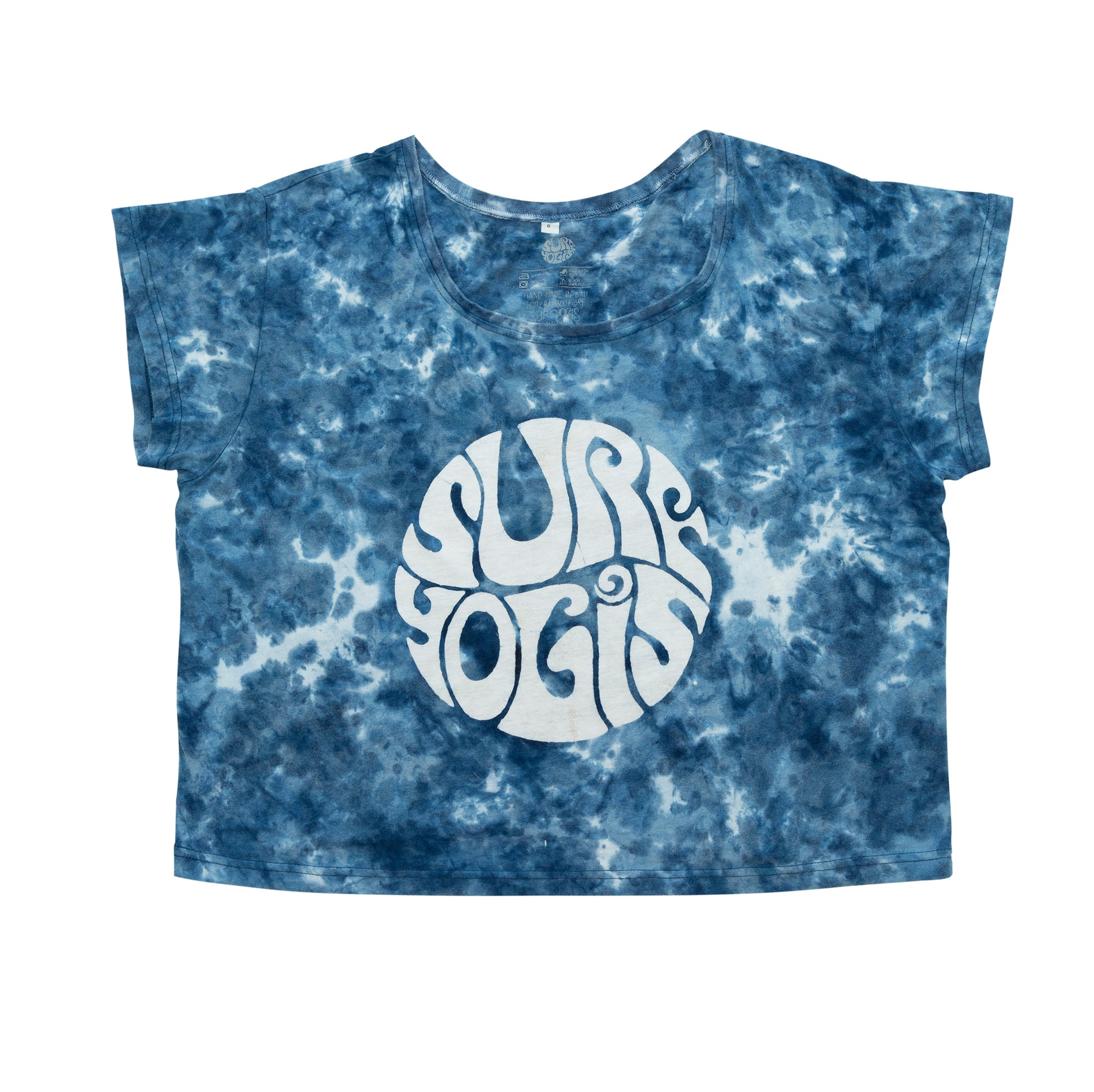 Blue tie dye t-shirt. White logo centre front. Relaxed fit, slightly cropped