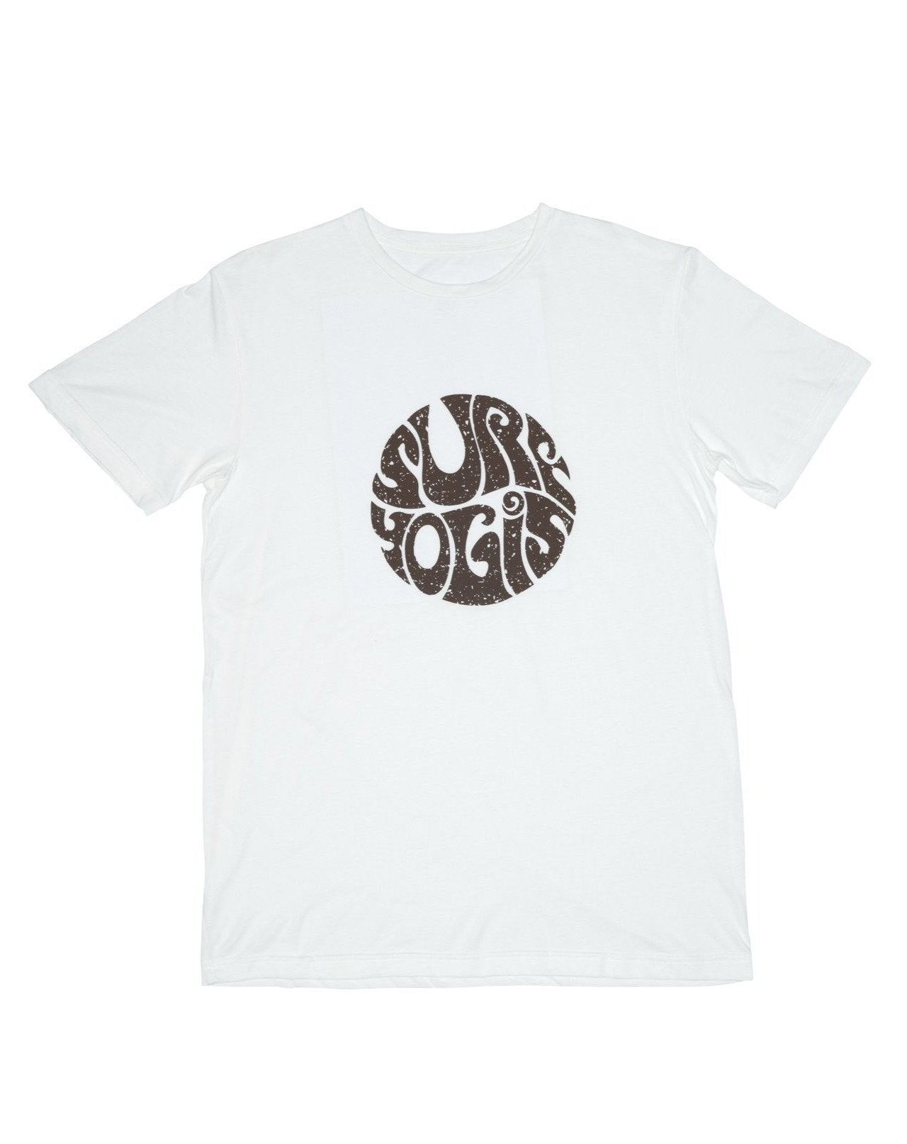 White classic t-shirt. Brown Surfyogis logo across chest. Vintage look print.