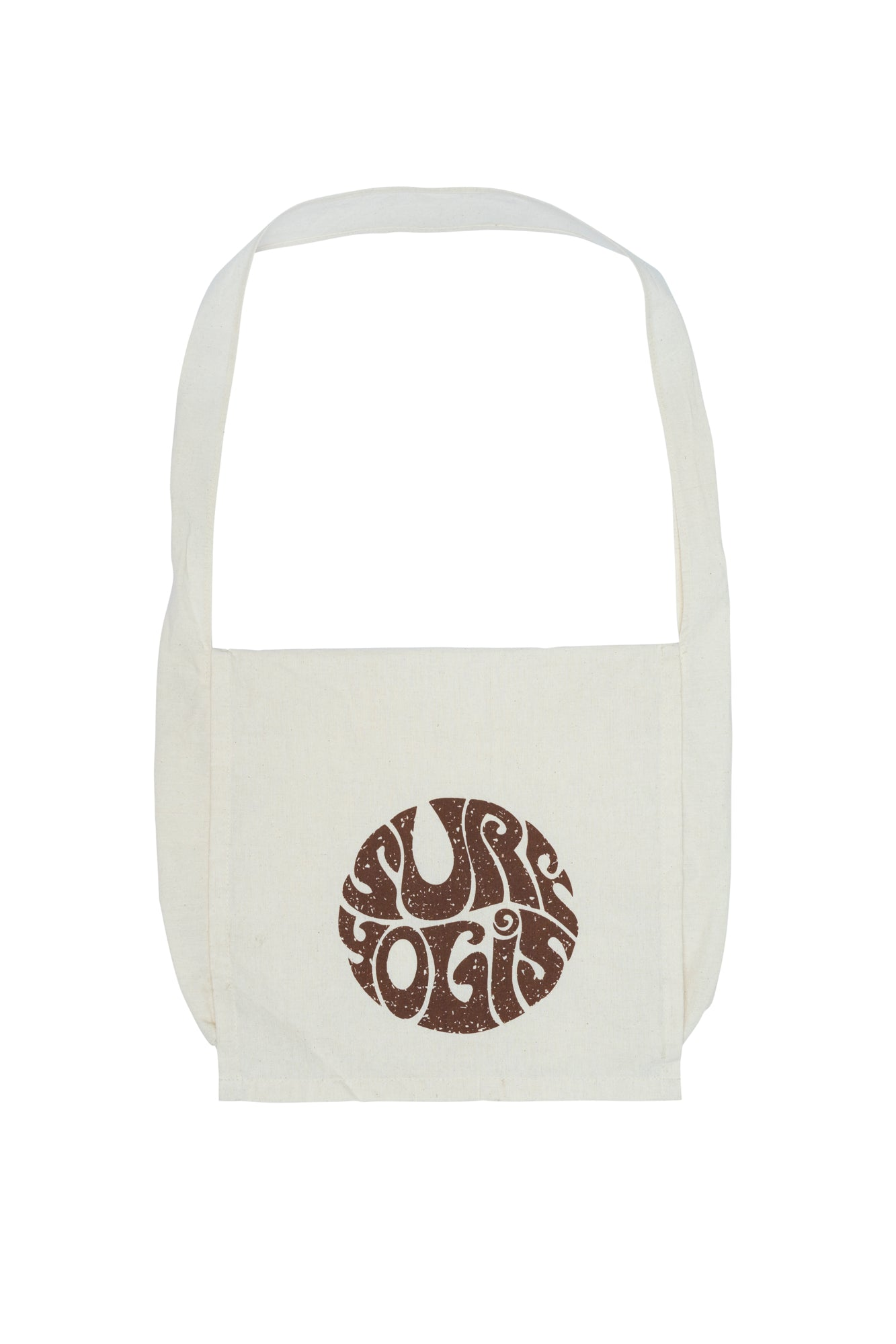 Off white, calico bag with flap. Vintage surfyogis logo, brown print.