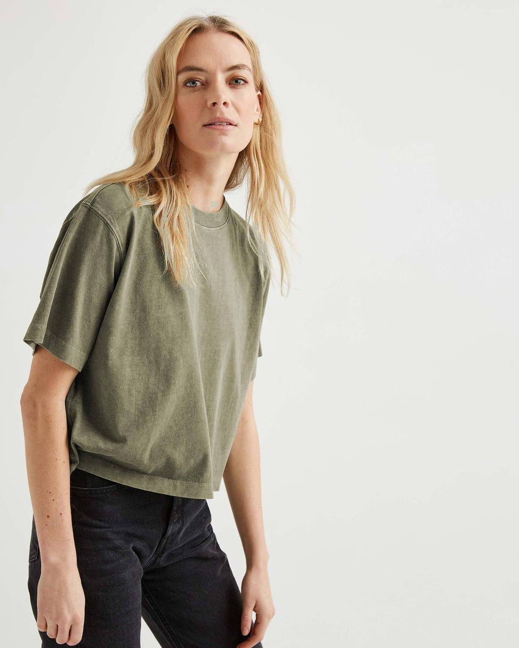 Relaxed Crop Tee - Green
