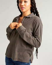 Relaxed Long Sleeve Polo - Brown