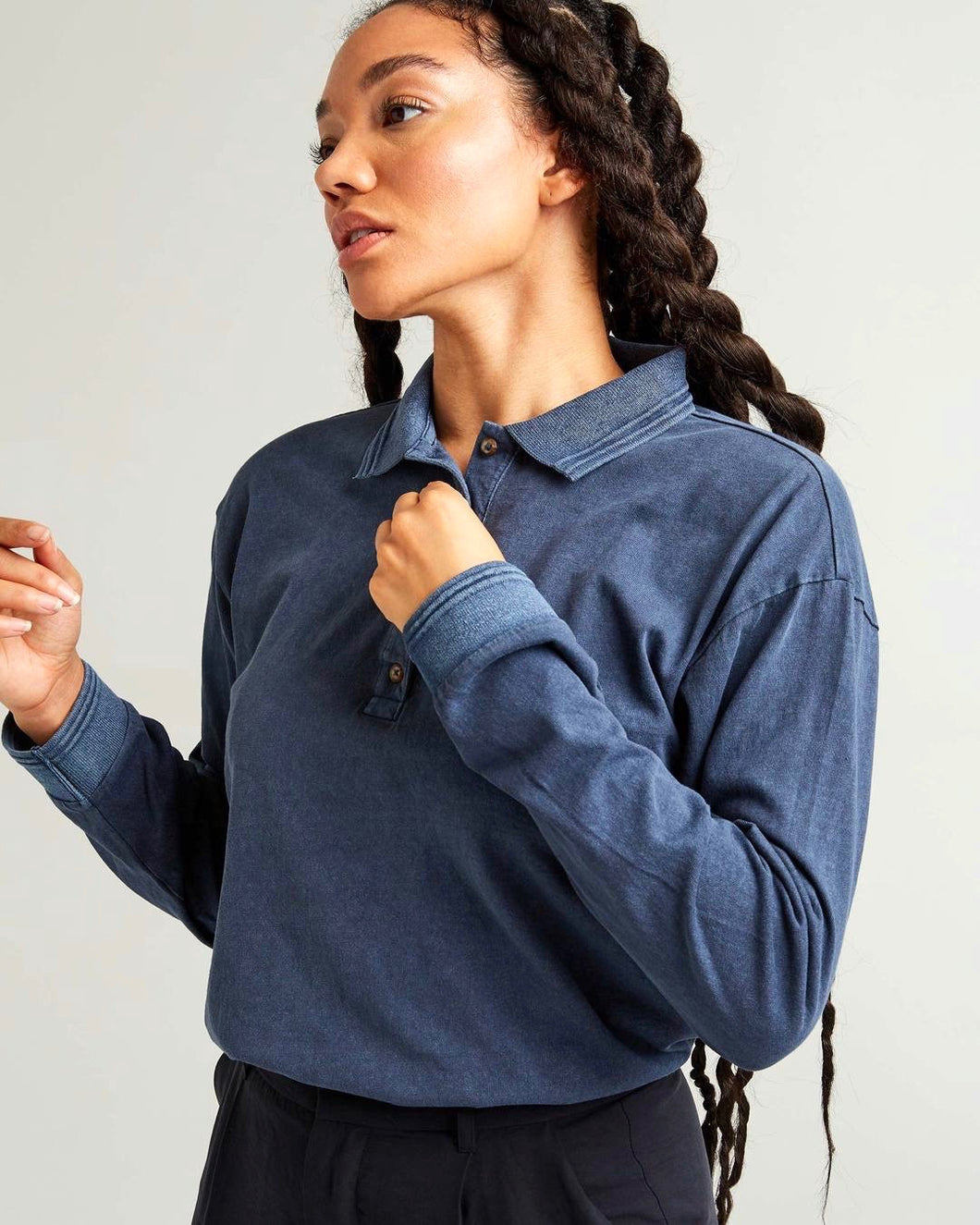 Relaxed Long Sleeve Polo - Blue Nights