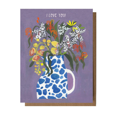 I Love You - Cow Lily Card