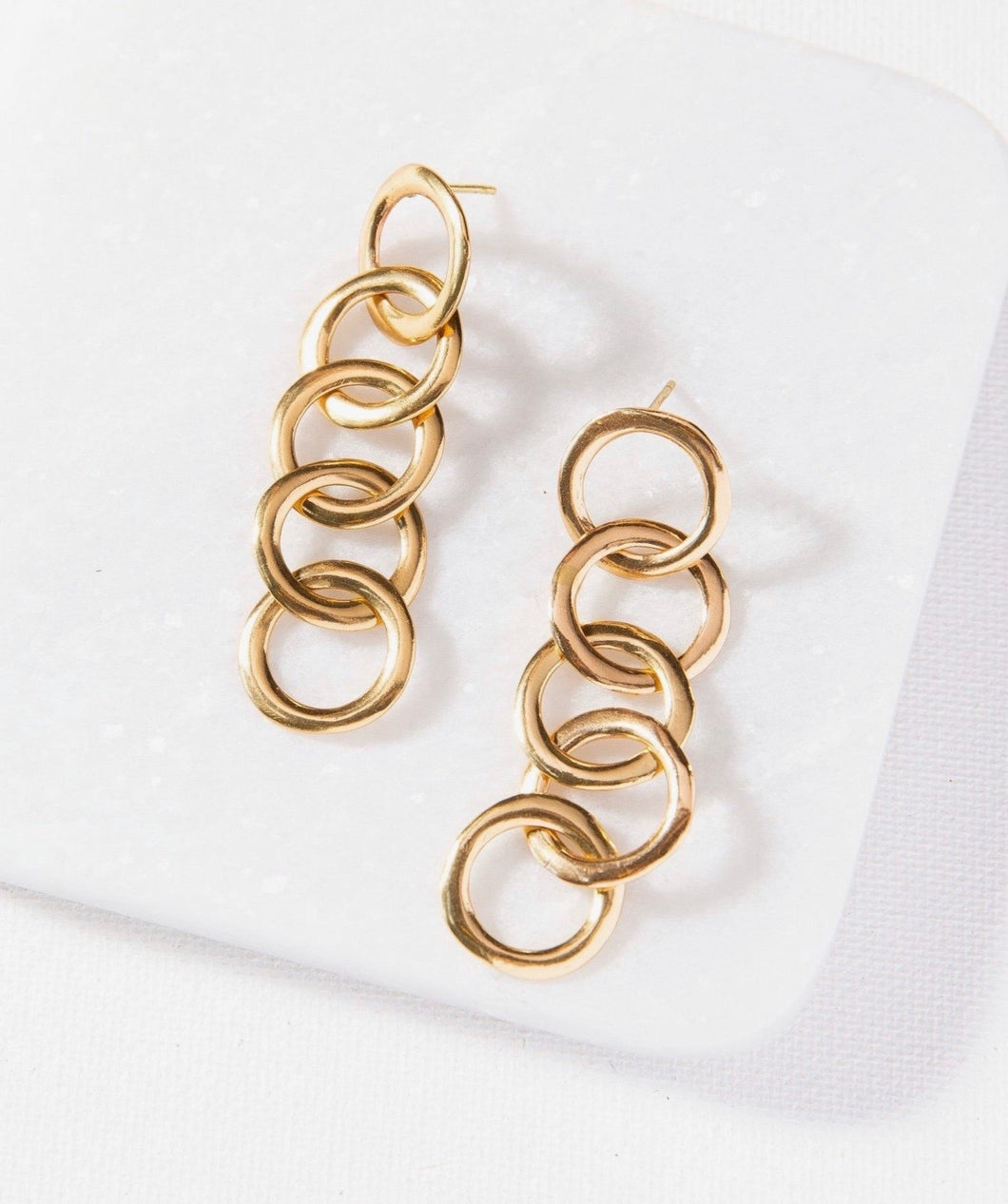 Circle Chain Brass Earrings