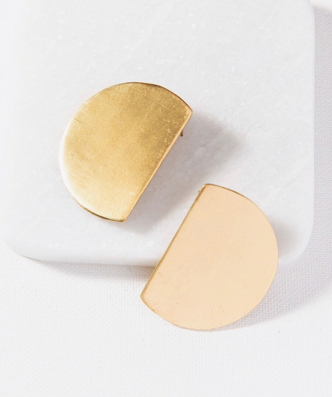 Cut Circle Large Post Brass Earrings