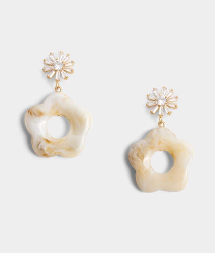 Bethany Floral Earrings - Beige