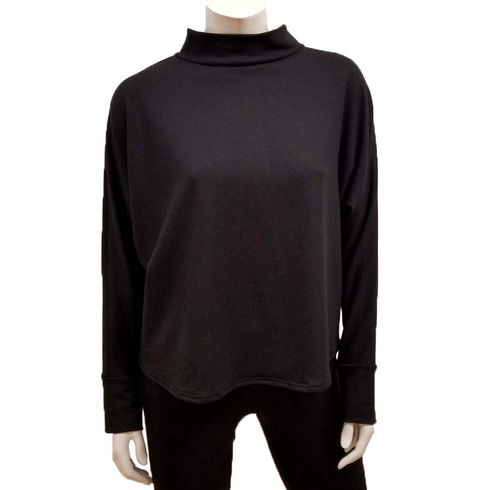 Bamboo French Terry Mock Neck Top - Black