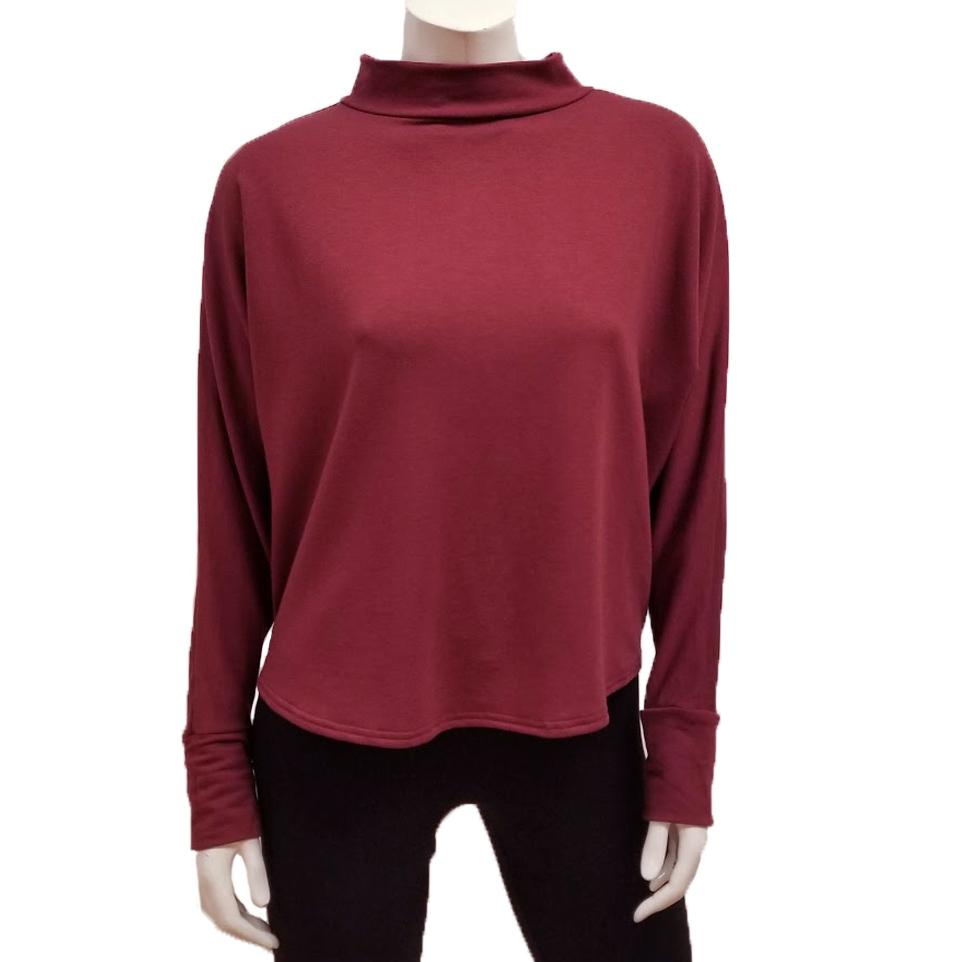 Bamboo French Terry Mock Neck Top - Merlot