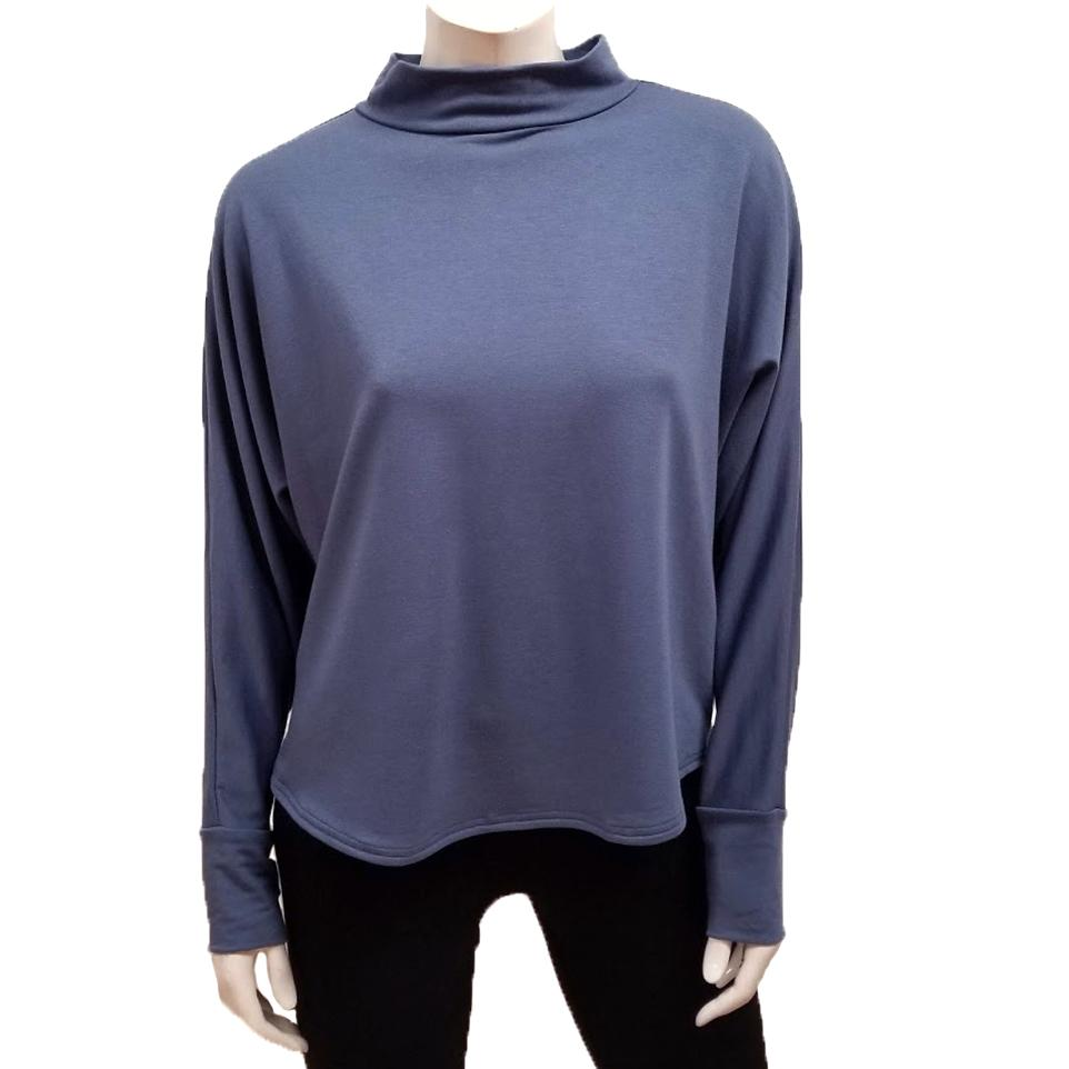 Bamboo French Terry Mock Neck Top - Stellar Blue