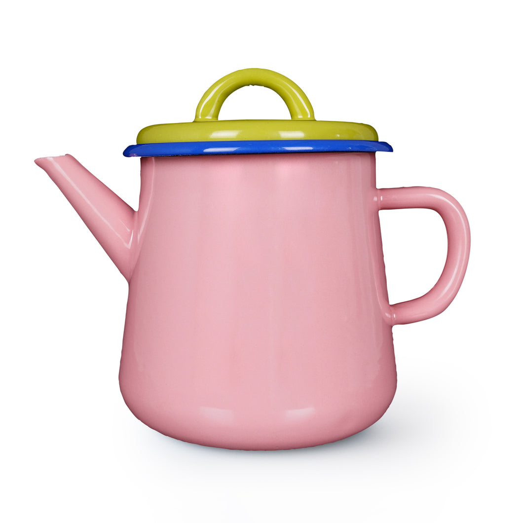 Colorama Tea Pot - Soft Pink with Chartreuse