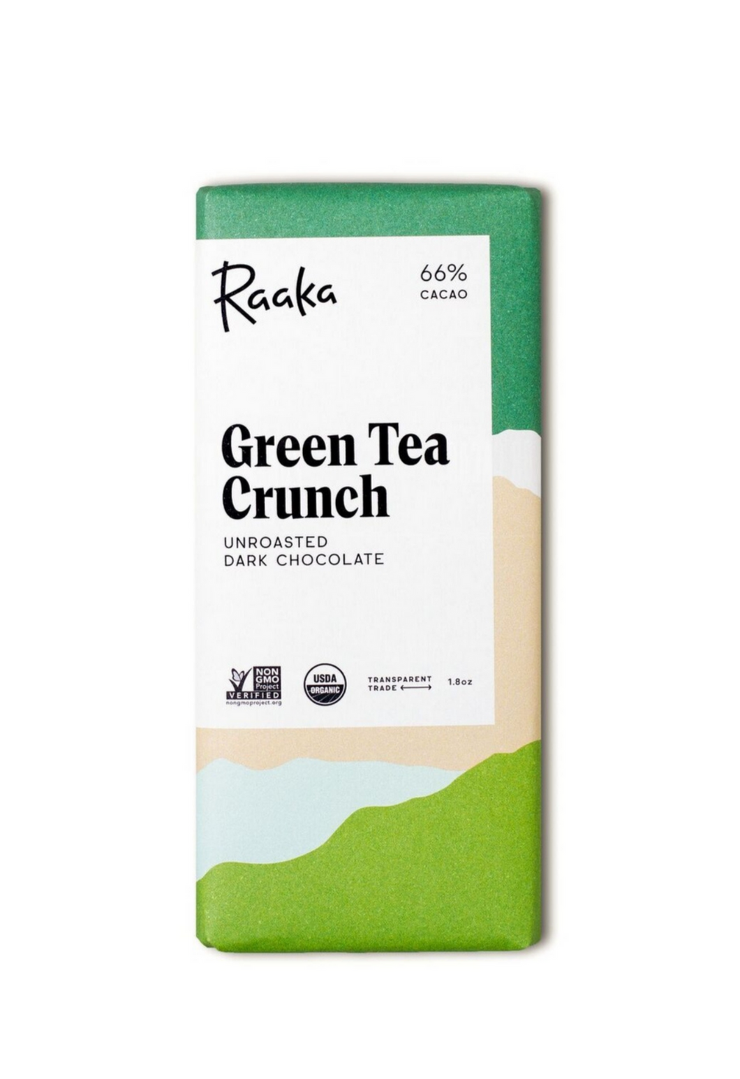 66% Green Tea Crunch Chocolate Bar