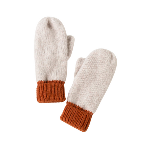 Cotton Candy Two Tone Mittens - Rust