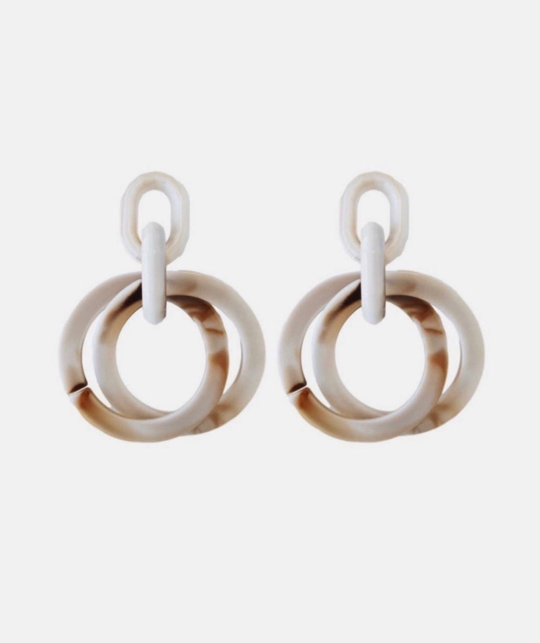 Layered Circle Earrings - Cream