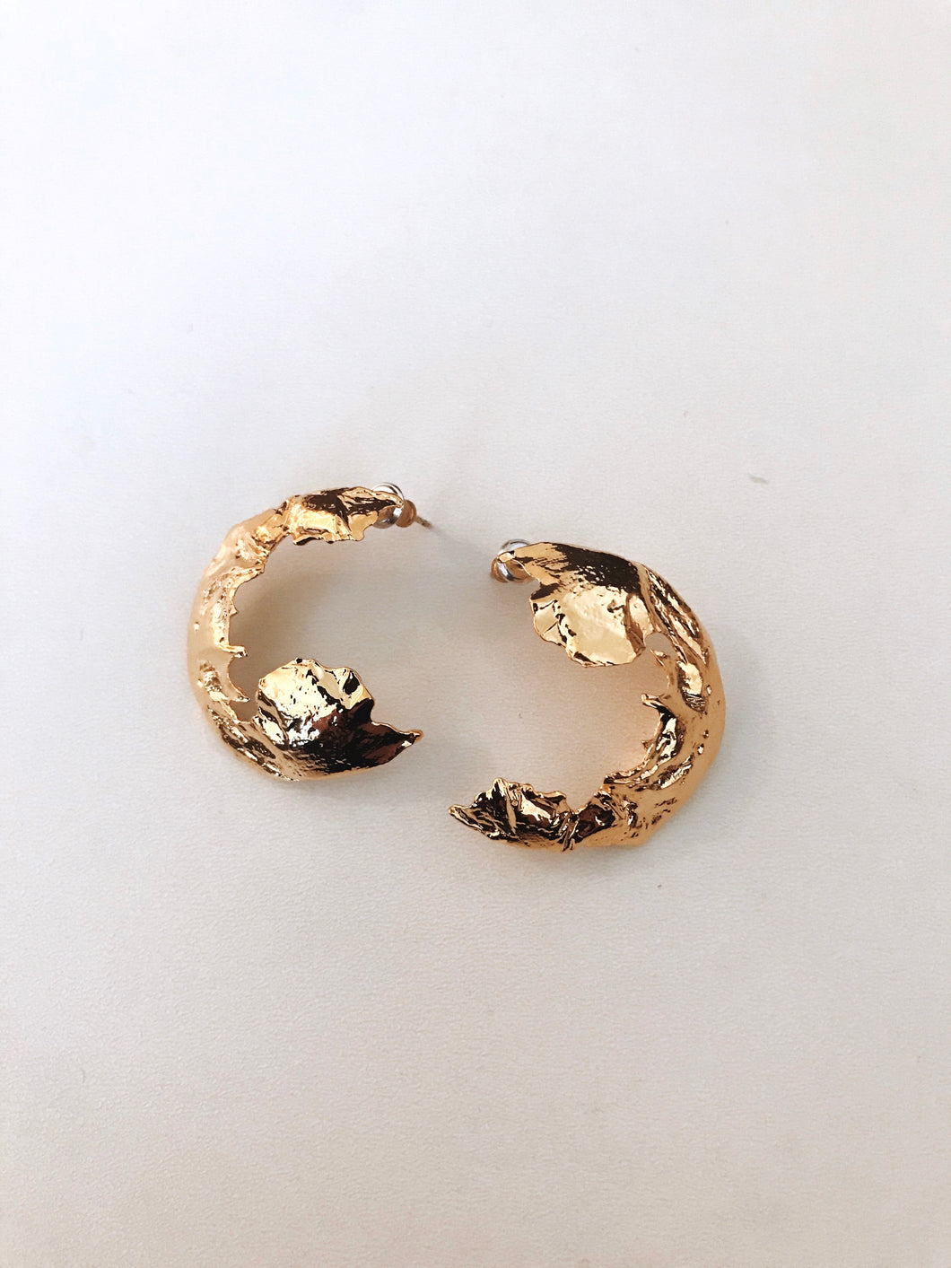 Textured Crescent Earrings - Gold