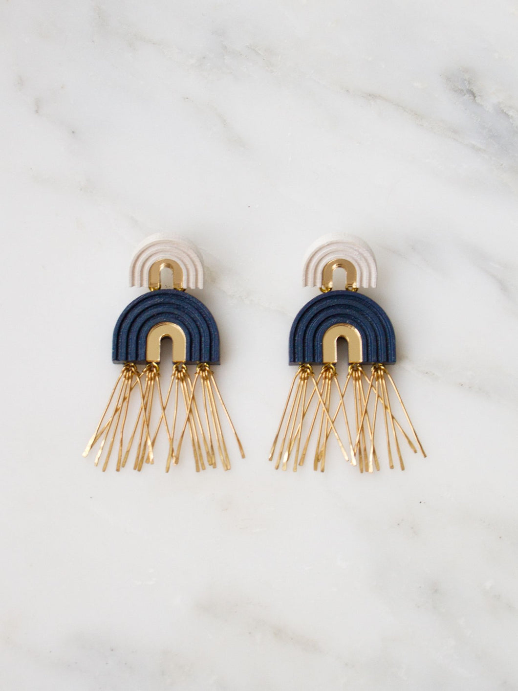 Two Arch Tassel Earrings - Navy