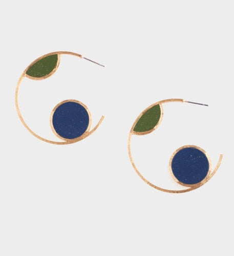 Leigh Earrings - Navy + Sage