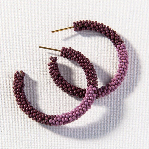 Port With Lilac Small Hoop Seed Bead Earrings