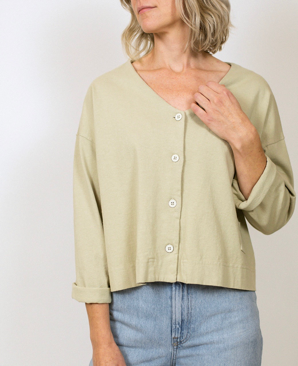 Cotton Button Back Top - Lark